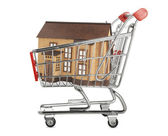 House in a shopping cart — Stock Photo
