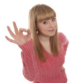 Woman with okay gesture — Stock Photo