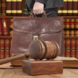 Lawyer with a brown briefcase — Stock Photo