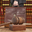 Lawyer with a brown briefcase - Stock Photo