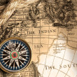 Vintage compass and old map - Stock Photo