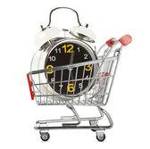 Shopping cart with alarm clock — Stock Photo