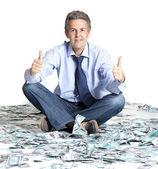Biznesmen i dolar banknotów — Zdjęcie stockowe