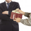 Giving a bribe — Stock Photo