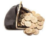кожаный кошелек и золотые монеты — Стоковое фото