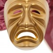 Golden dramatic  theatrical mask — Stock Photo