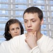 Stock Photo: Young couple quarreling