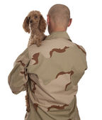 Soldier and dog — Stock Photo