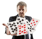 Man playing with poker — Stock Photo