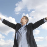 Businessman under blue sky — Stock Photo #45771439