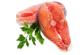 Dos trozos de salmón crudo — Foto de Stock