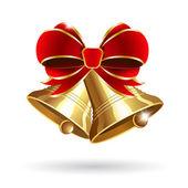 Jingle bell con moño rojo — Vector de stock