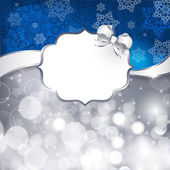Białe etykiety na srebro świeci i niebieskie tło — Wektor stockowy
