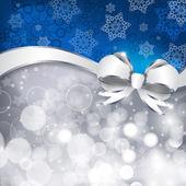 Fiocco bianco su un argento brilla e sfondo blu — Vettoriale Stock