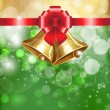 Vector de stock : Jingle bells with red bow on shines background