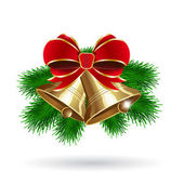 Jingle bells con lazo rojo sobre un fondo blanco — Vector de stock