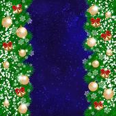 Vánoční dekorační věnec na tmavě modrém pozadí. — Stock vektor