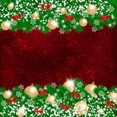 Vánoční dekorační věnec na tmavě červeném pozadí — Stock vektor