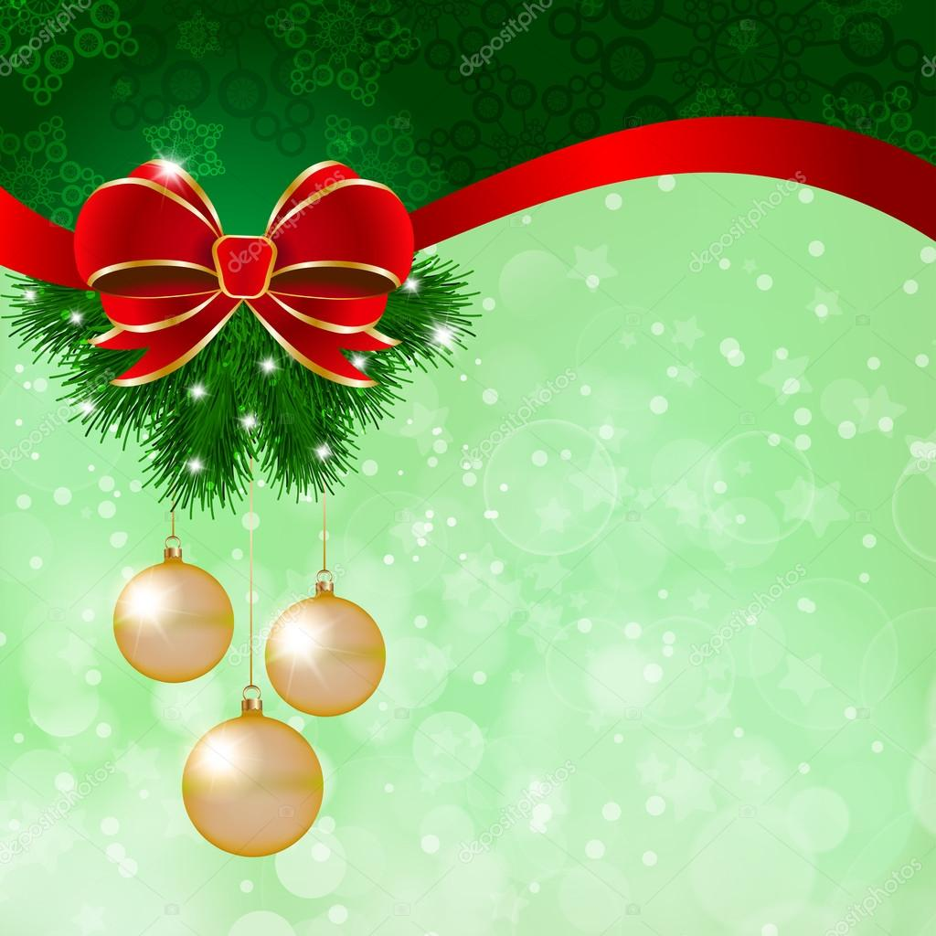 Christmas decoration on green background stock vector for Background decoration images