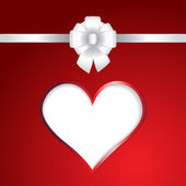 White heart and ribbon bow on red background — Stok Vektör