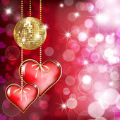 Two hearts and gold disco bal — Vector de stock
