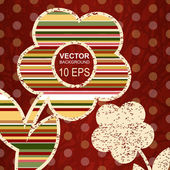 Red background with decorative flowers — Vecteur