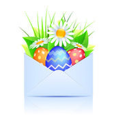 Bouquet of daisies and easter eggs in an open envelope blue — Stock Vector