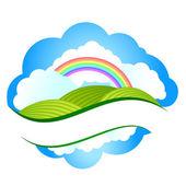 Paisaje de verano con prados y árboles en un cielo nublado y lluvia — Vector de stock