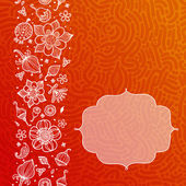 Bright orange floral pattern with doodle flowers — 图库矢量图片