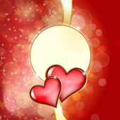 Two glass red hearts on red background with bokeh — Stok Vektör