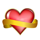 Red heart & gold ribbon — 图库矢量图片