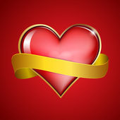 Red heart & gold ribbon — Stockvector