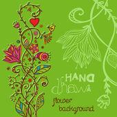 Dibujo de fondo floral verde de la mano — Vector de stock