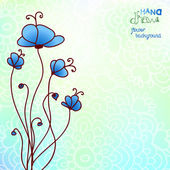 Hand drawing blue floral background — Vecteur