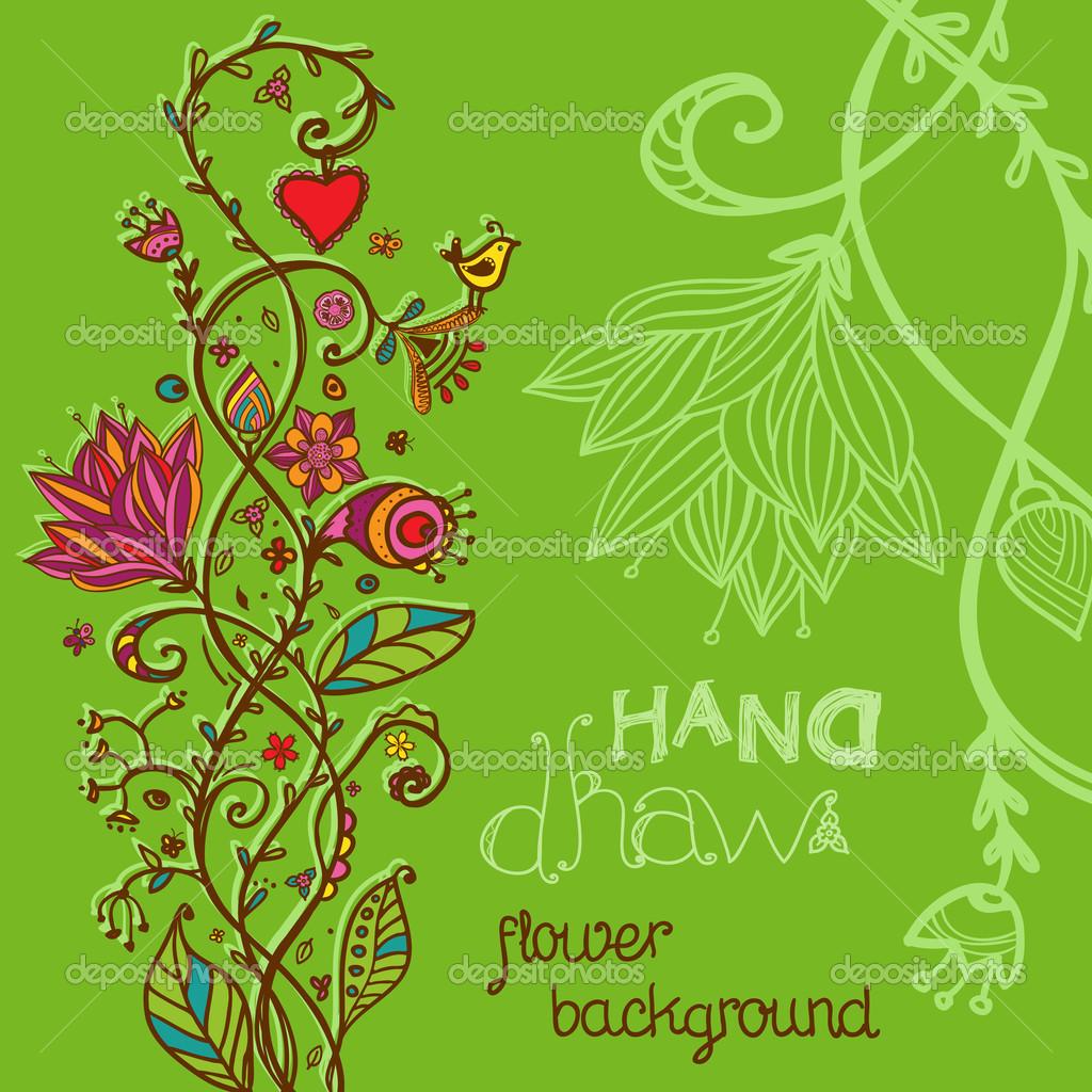 手绘图绿色花卉背景