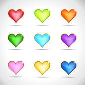 Set of icons hearts — Stock Vector