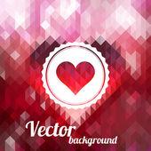 Popisek se srdcem na barvu pozadí z trojúhelníků — Stock vektor