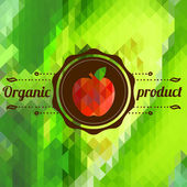 Label with apple on color background made of triangles — Stock Vector