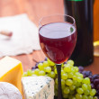 Two bottles of wine and  cheese — Stock Photo