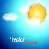 有一片蓝天、 阳光和云彩背景 — 图库矢量图片