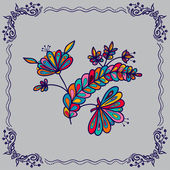 Hand drawing  flowers and border — Vector de stock