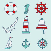 Pattern with nautical elements — Stock Vector
