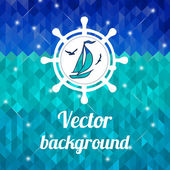 Label with yacht — Vettoriale Stock