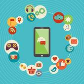 Flat design modern vector illustration concept of social media  — Stock Vector