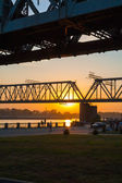 Railway bridge at sunset — Stock Photo