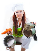 Tired of work in kitchen and cooking — Stock Photo