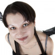 Stock Photo: Smiling angel with grey wings on white