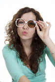 Young woman in broken glases has pouted lips — Stock Photo