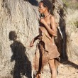 Native bushmen in Kalahari Desert, Namibia - Stock Photo
