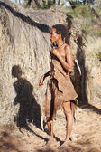 Native bushmen in Kalahari Desert, Namibia — Stock Photo